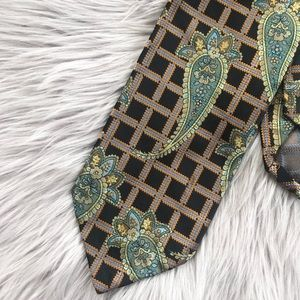 Robert Talbott Silk Paisley Plaid Black Green Tie